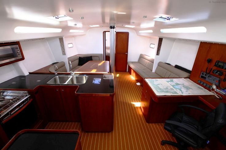 Dibley 17m (55) 'Marilyn'. Galley, Nav, Saloon looking from companionway. Open and functional. A great entertainment space.