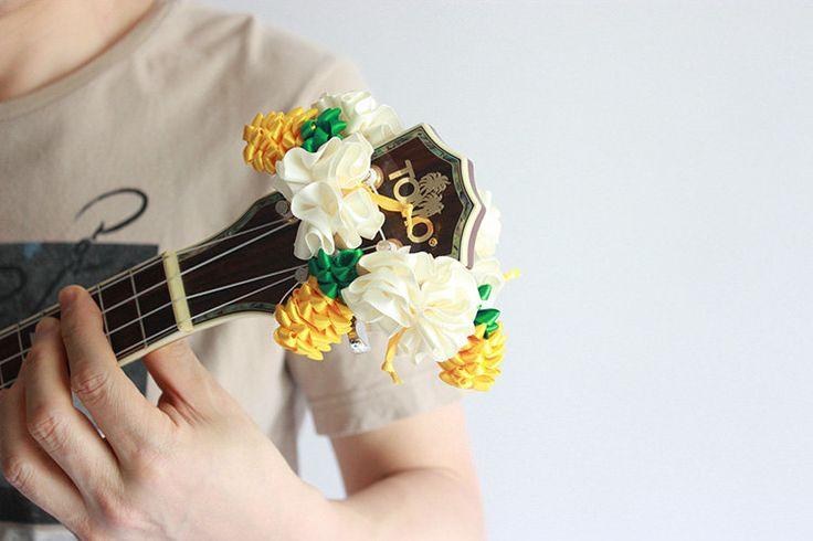 ribbon lei for ukulele / pineapple B / ukulele accessories/ ukulele decor / mandolin /banjo / hawaiian lei / satin ribbon / flower ribbon