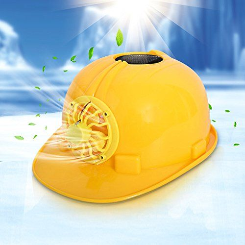 HOMEPRO Solar Powered Safety Helmet Hard Ventilate Hat Cap with Cooling Cool Fan Yellow -- See this great product.