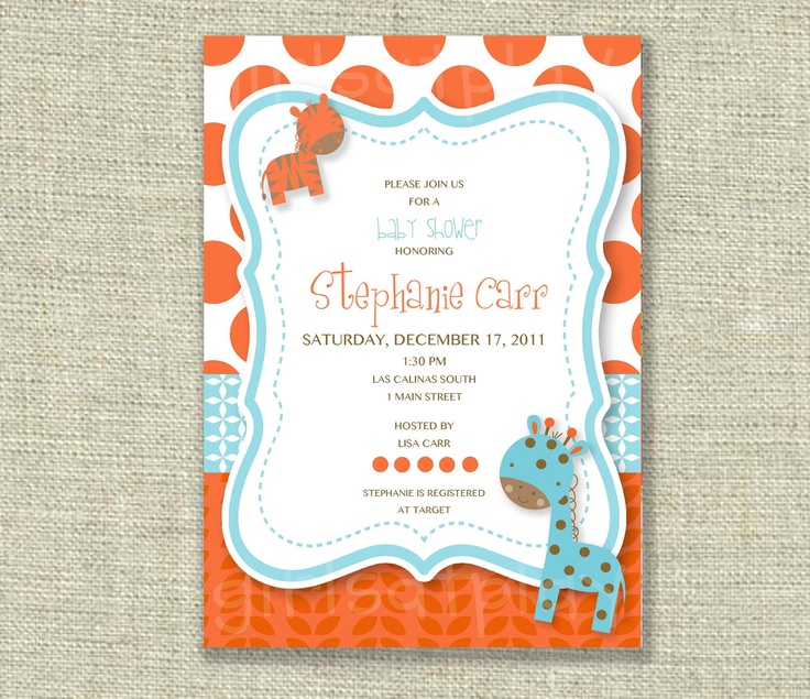 baby boy shower invitation jungle zoo animal print tangerine orange tiffany blue printable by girls