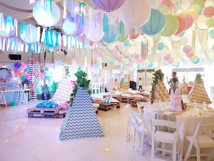 Boho chic partyscape from a Coachella Music & Arts Festival Inspired Birthday Party on Kara's Party Ideas | KarasPartyIdeas.com (10)