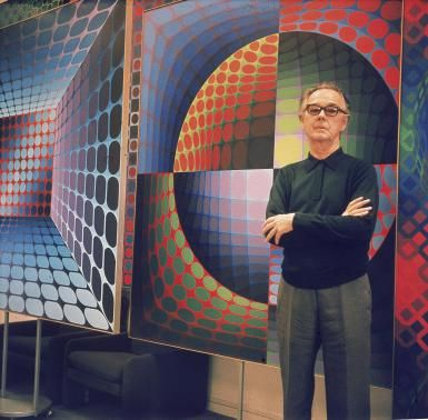Victor Vasarely, Leader of the Op Art Movement: Vasarely poses in front of one…