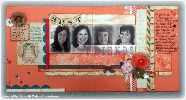 Double Page Friends Layout by DT Member Kim using Hello Friend Collection Double Page Layout Kit by Glitz Design found at fotobella.com