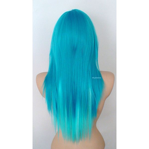 Scene Wig Emo Wig Teal Blue Aqua Blue Long Straight Hair Side Bangs... ($150) ❤ liked on Polyvore featuring beauty products, haircare, hair styling tools and hair