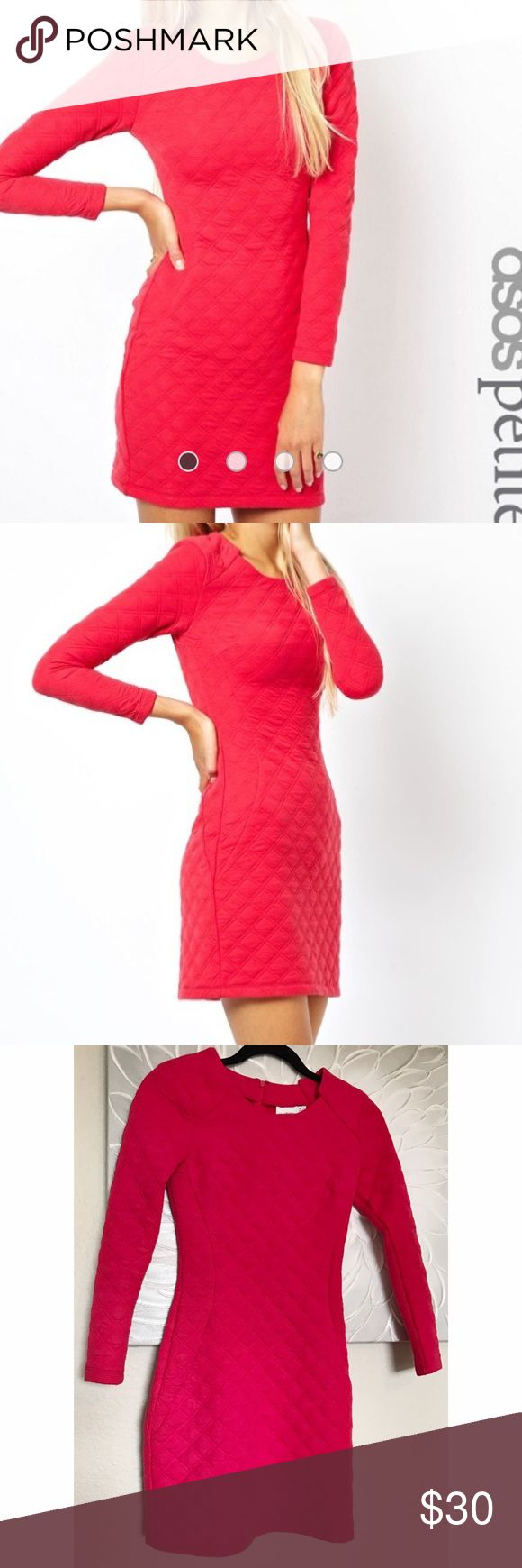 Asos Petite Quilted Pink Dress Structured long sleeve quilted bright red ish pink dress. Gorgeous and thick dress. Really good quality. The tailoring and structuring is really nice. This seriously sucks everything in and looks bomb on! Hidden zipper up the back of the dress. Asos petite size 2, but I'm a 00 xxs and it fits perfectly. Ask about 🅿️ay🅿️al or Ⓜ️ercari! ASOS Petite Dresses Mini
