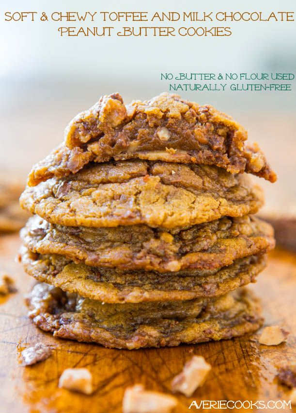 Soft and Chewy Toffee and Milk Chocolate Peanut Butter Cookies (gluten-free) - No Butter & No Flour Used! Easy Recipe at averiecooks.com