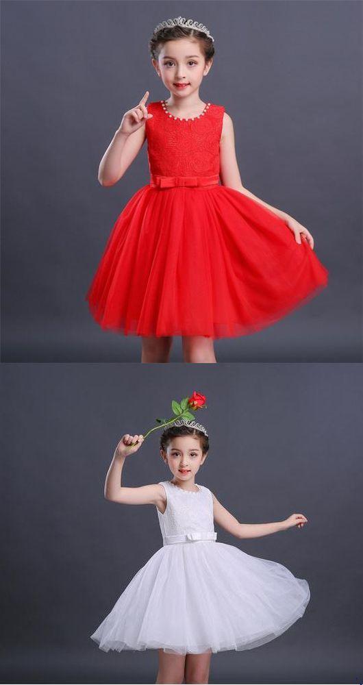87ca1bc63 Lovely Scoop Neck Sleeveless Lace Flower Girl Dresses Short Little Girl  Dresses #lace #lovely #sleeveless #short #dress