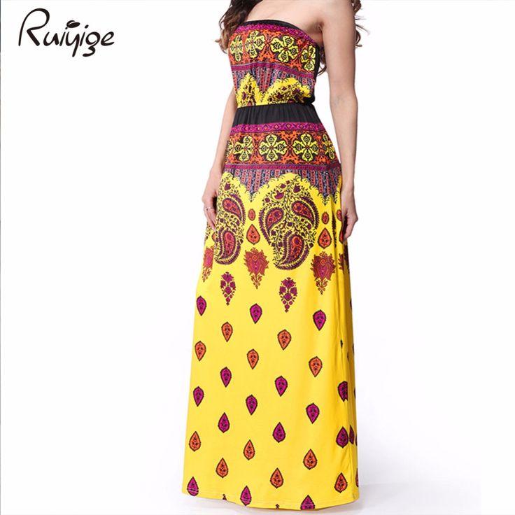 2017 New Stylish High Quality Summer Dresses Printed Long Dress Strapless Beach Bohemian Maxi Dress Milk Silk Floor Length C0036