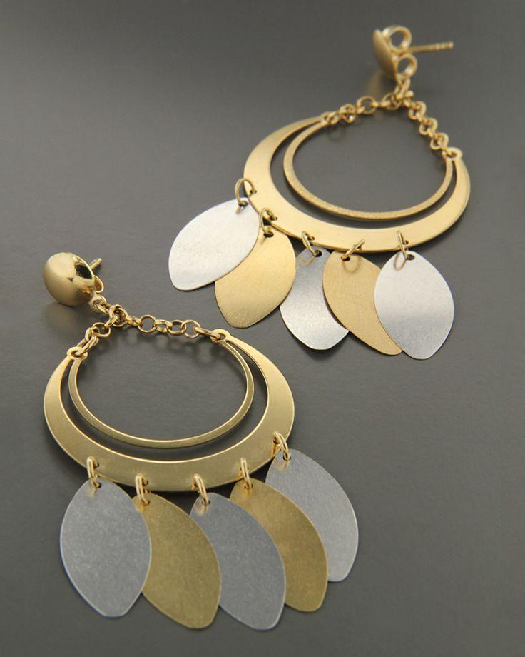 Σκουλαρίκια χρυσά & λευκόχρυσα Κ18