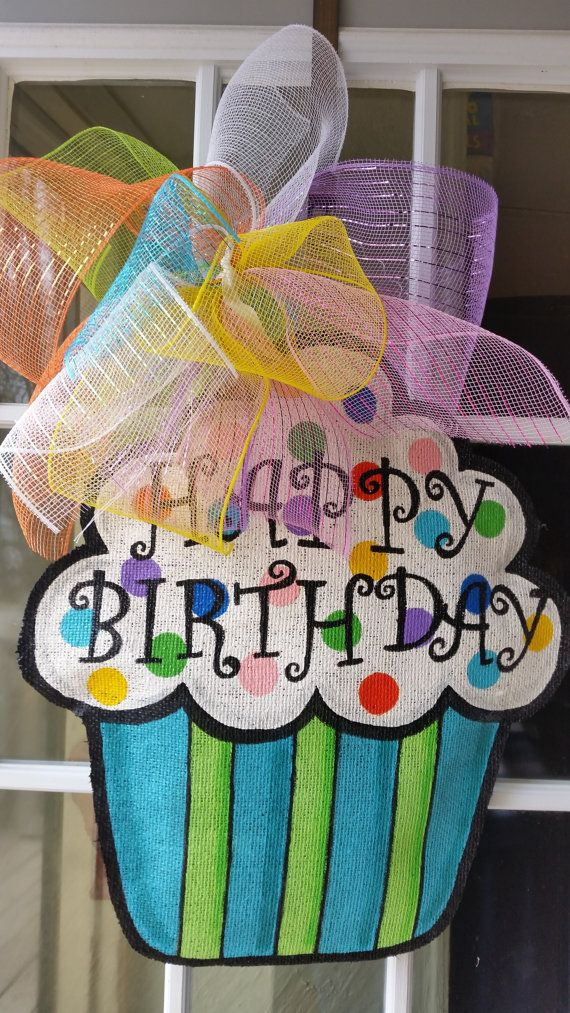 Cupcake burlap door hanger, Happy Birthday door hanger