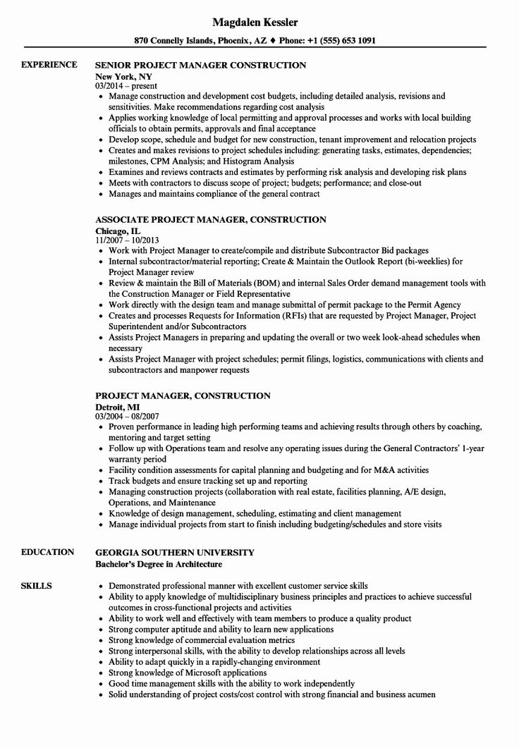 Construction Project Coordinator Resume Luxury Project