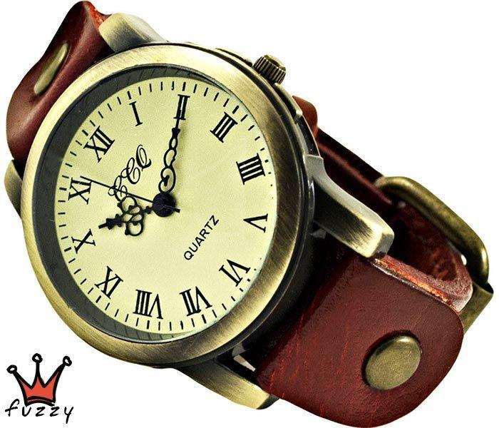 Ρολόι γυναικείο (R362-07) σε εκρού με δερμάτινο λουράκι σε κόκκινο χρώμα.