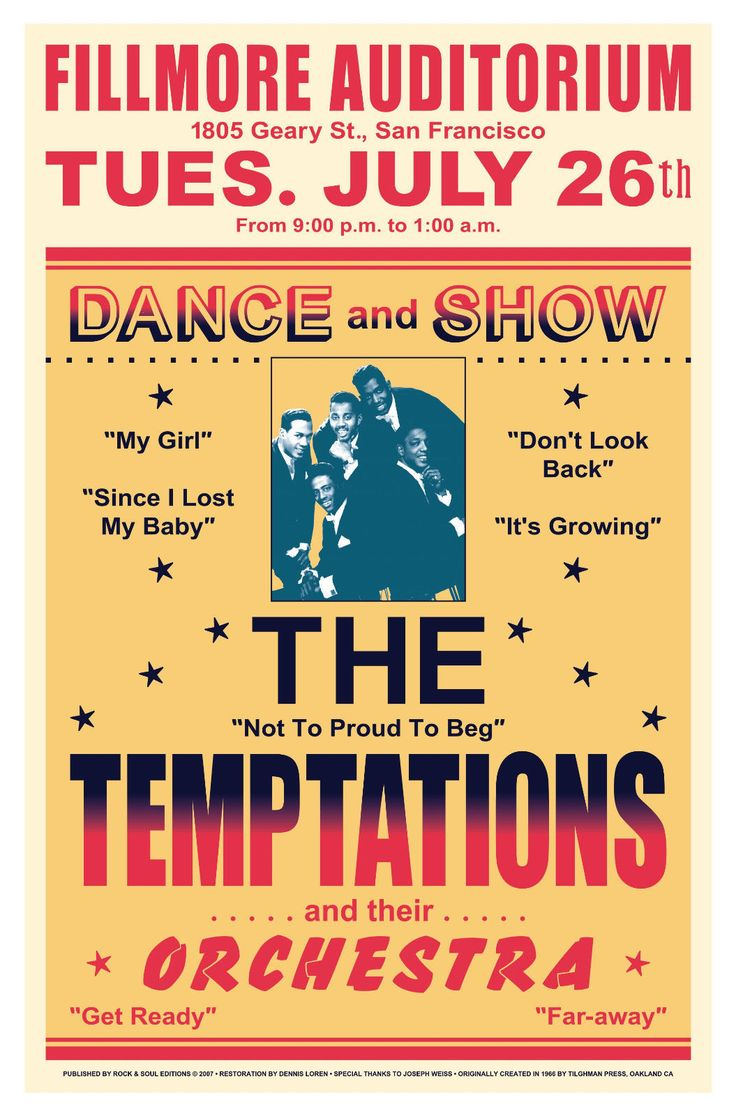 TEMPTATIONS BLUE PRINT POSTER SIZE MOTOWN POP MUSIC