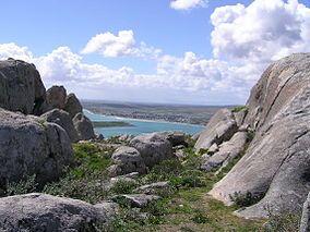 Granite formations overlooking the Langebaan Lagoon, West Coast National Park, Western Cape, South Africa