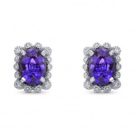 Purple Sapphire & Diamond Earrings, SKU 277764 (2.45Ct TW)