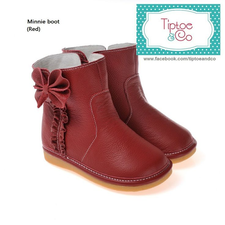 Gorgeous deep red leather winter boots for toddler girls 3