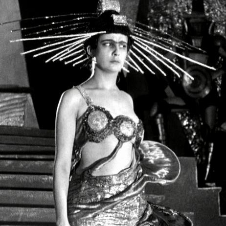 From the film, Aelita Queen of Mars, 1924...(this outfit really really frightens me: I think it's the needles on the head - Lori)