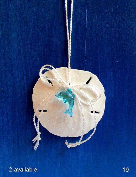 Sand dollar Christmas ornament with aqua dolphin, coastal tree decorations, beach ornaments