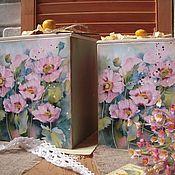 """Для дома и интерьера ручной работы. Ярмарка Мастеров - ручная работа Короб  """"Розовые маки"""", короб для дома. Handmade."""