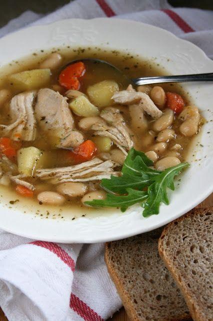 Lekka zupa fasolowa na kurczaku