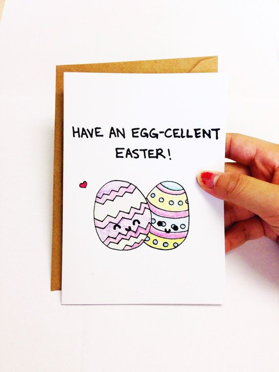 Funny Easter Card, Cute Easter card, Easter egg card, Easter Greetings, Funny card, Cute card, Pun card, hand drawn card, cartoon card by LoveNCreativity