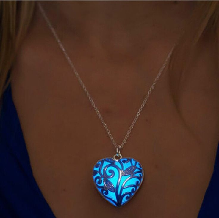 Glow In The Dark Locket Silver Hollow Glowing Stone Pendant