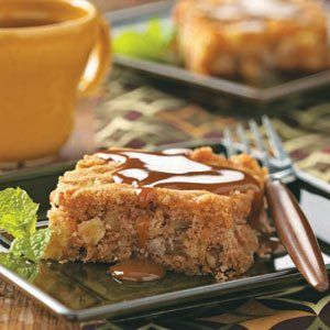 Fresh Apple Cake with Caramel Sauce Recipe -I've had this recipe for years and make it often since Michigan has an abundance of apples. The caramel sauce is a special touch, especially when serving guests. —Mrs. Karl Zank, Sand Lake, Michigan