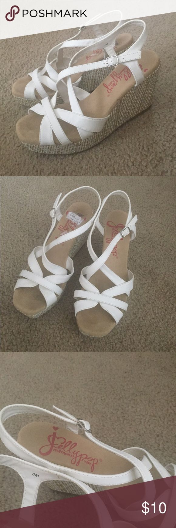 Jellypop white wedge shoes White strappy sandal Size8 wedges by Jellypop (Jelly pop), great condition- worn once Shoes Wedges