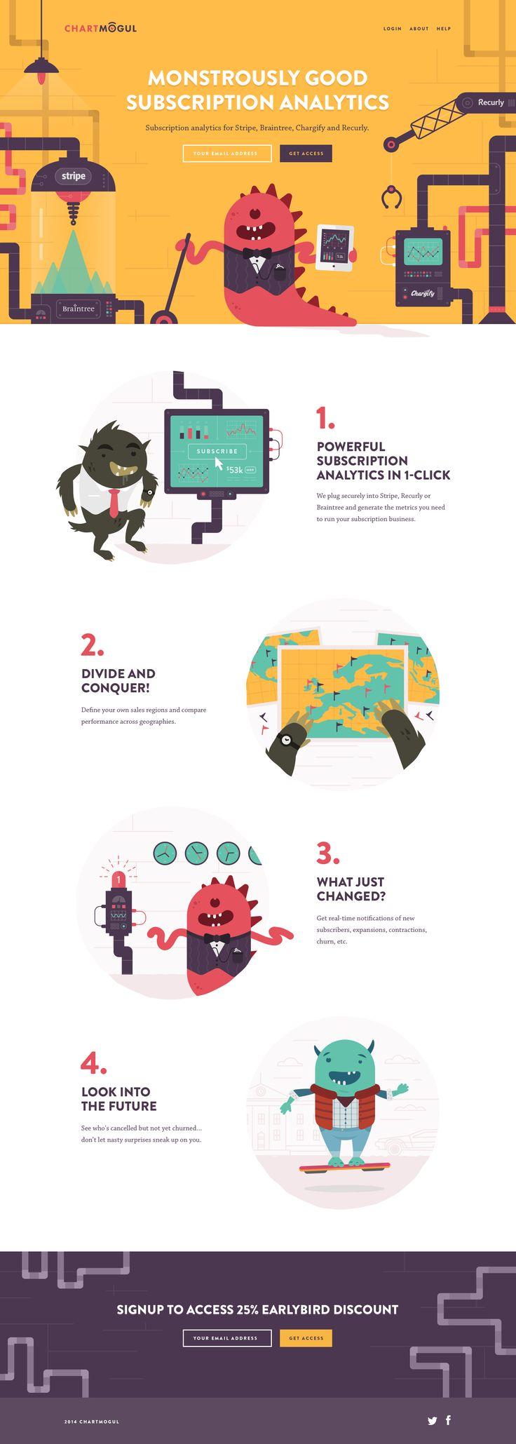 Unique Web Design, Chart Mogul #WebDesign #Design (http://www.pinterest.com/aldenchong/)
