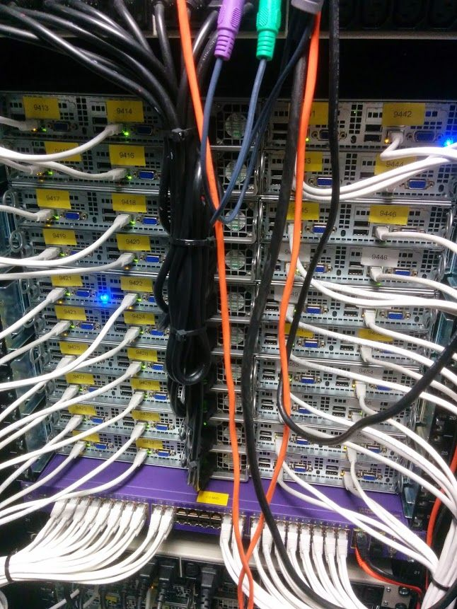 Cabling running to a server rack. Looks like they're using an Extreme Networks switch?
