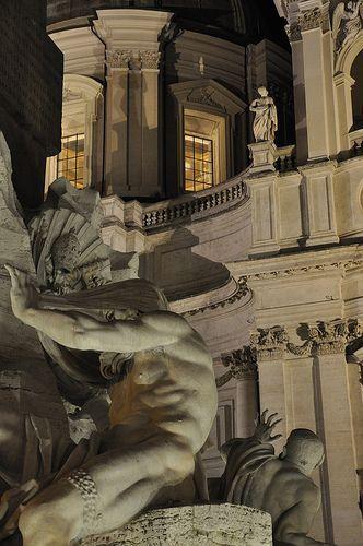 Bernini's Fountain at Piazza Navona, Rome, Italy.