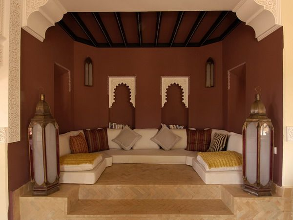 Love the muted color in this Moroccan Style Living Room Design