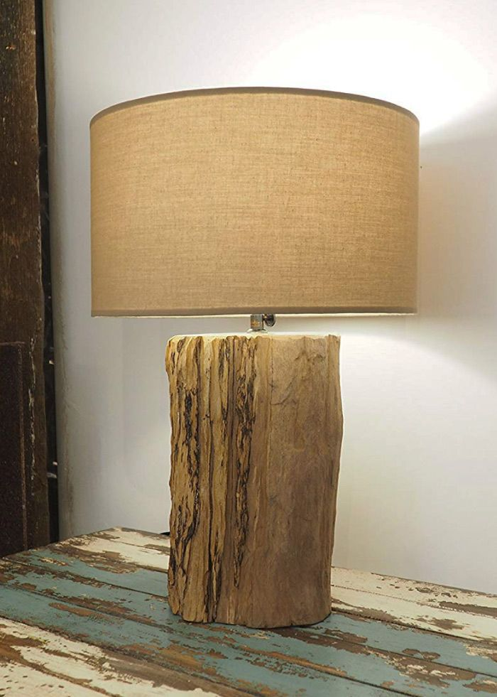 Handmade Rustic Wood Table Lamp With Lampshade Available On Uk Tablelamp
