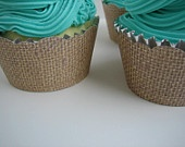 36 Burlap Cupcake Wrappers - Shabby Chic, Rustic, Vintage Inspired, Birthday, Outdoor Wedding, Barn Wedding, Baby Shower, Bridal Shower. $10.20, via Etsy.