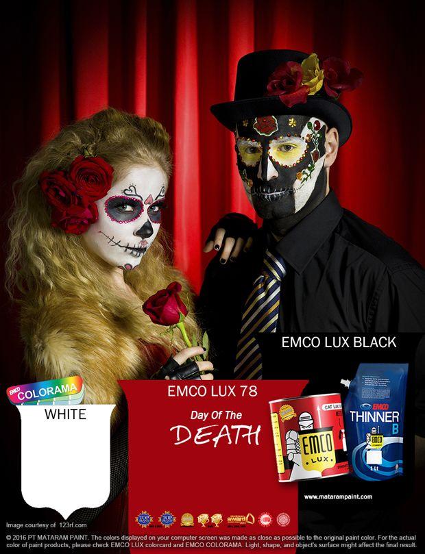 Terinspirasi dari peringatan Day Of The Death, Anda dapat memperindah hunian Anda dengan warna warni cat EMCO LUX 78, EMCO LUX BLACK dan EMCO COLORAM WHITE dari palet EMCO. Anda juga dapat mengunjungi kami di http://matarampaint.com/news.php