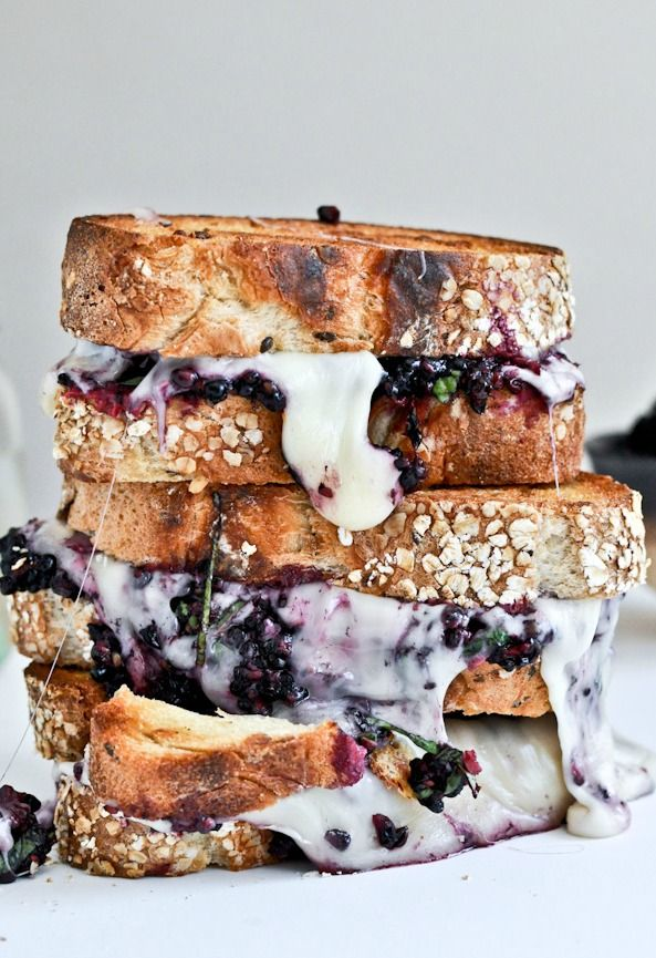 Grilled Fontina and Blackberry Basil Smash Sandwiches.