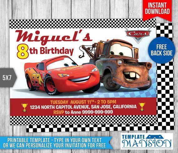Disney Cars Invitation Disney Cars Birthday by TemplateMansion