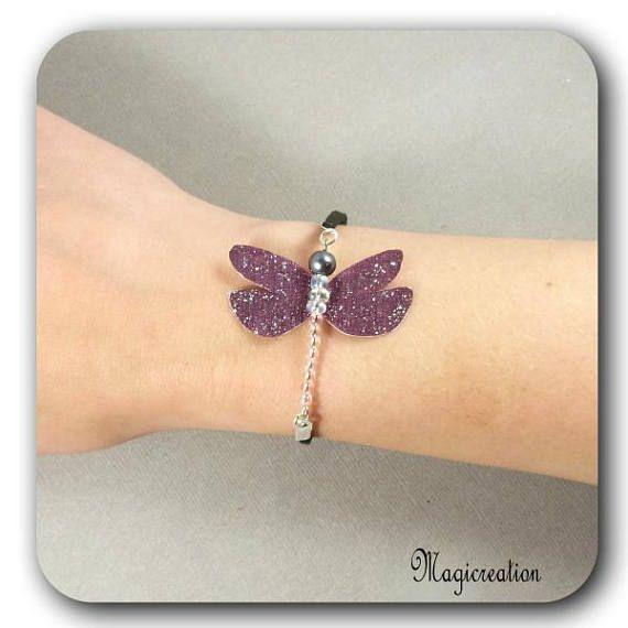 bracelet libellule soie bordeaux pailletée argenté corps de