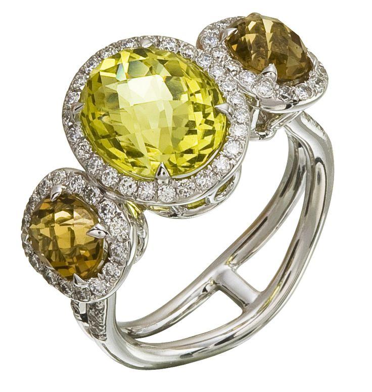 Diamond Ring, .58 Carat Diamonds 1.49 Carat Topaz 3.45 Carat Quartz on 14K White Gold