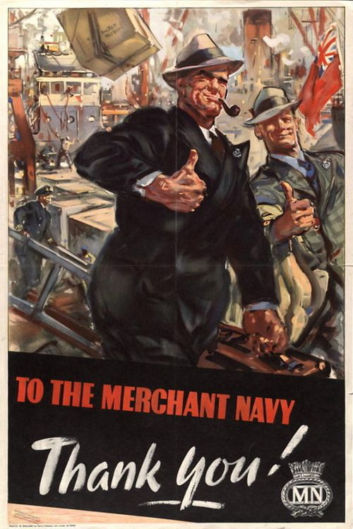 "British WWII propaganda poster, depicting the British public giving the ""thumbs up"" to the Merchant Navy."