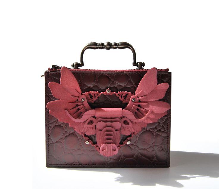 Burgundy Croco, Bull hand-bag, 3D printing