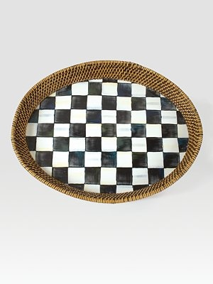 MacKenzie-Childs Courtly Check Rattan Tray: Check Rattan, Court Check, Mackenzie Child Style, Mackenziechild Style, Enamels Trays, Products, Mackenzie Child Court, Rattan Trays, Mackenziechild Court