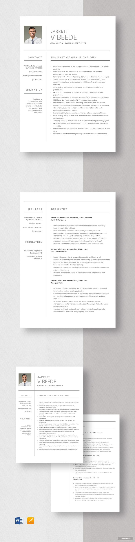Commercial loan underwriter resumecv template word