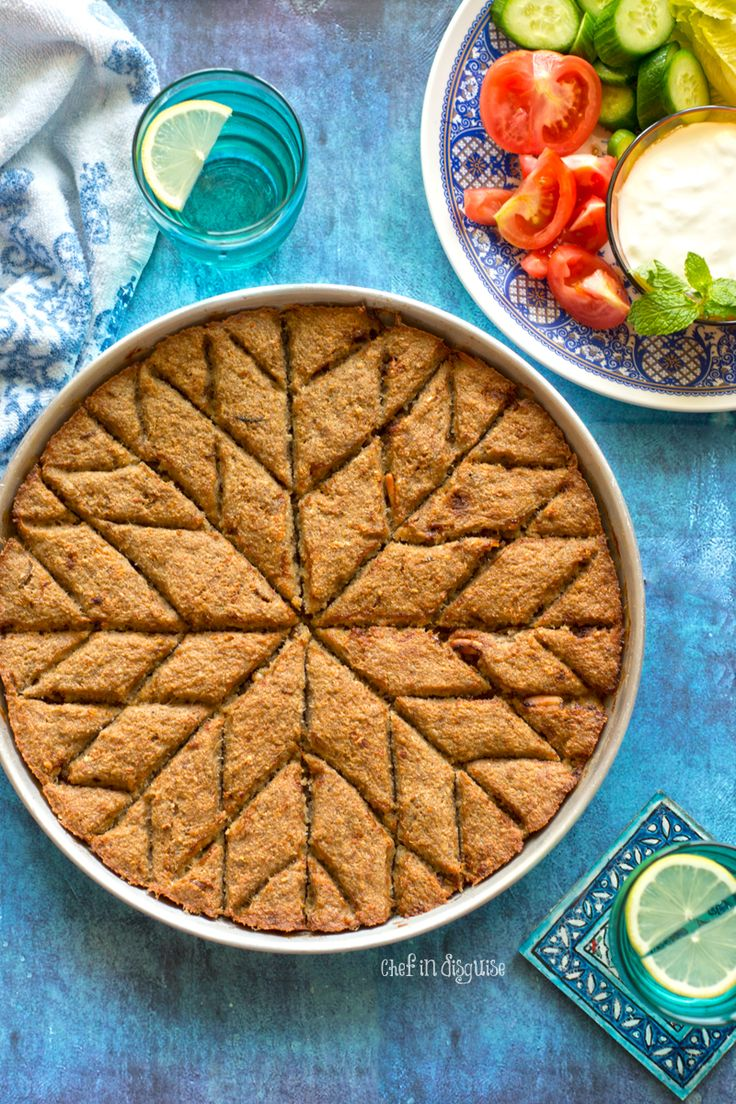 Lebanese baked kibbeh with step by step instructions on how to cut the pattern
