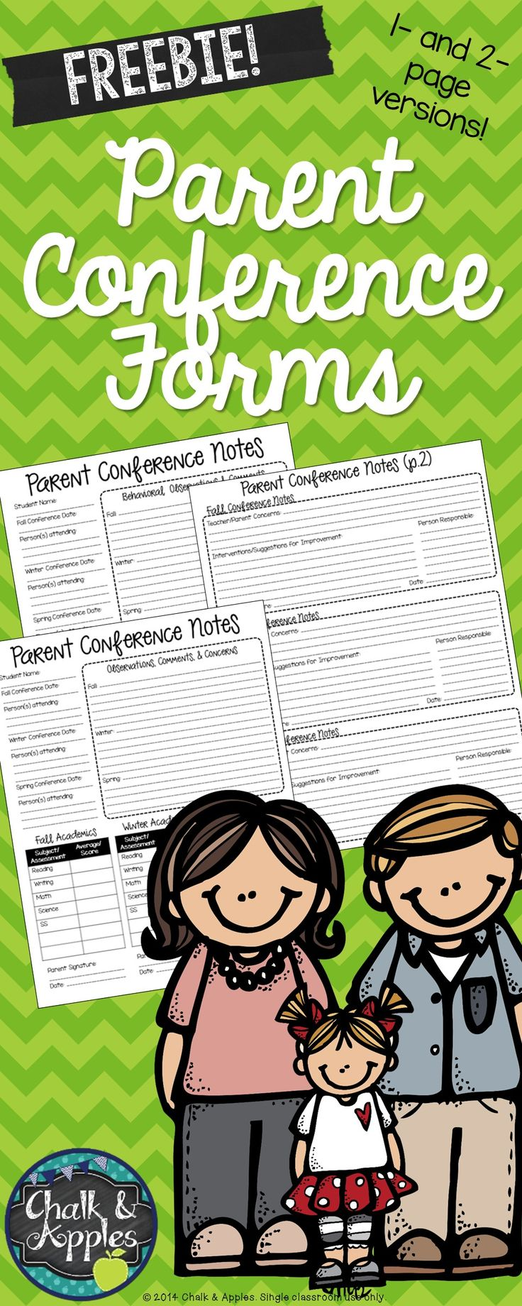 FREE Parent Conference Forms! Two versions are included, a one-page quick form and a two-page more detailed version. Behavioral observations & concerns, current grades and scores on school-side assessments, and interventions/suggestions for improvement. This one form covers conferences for fall, winter, and spring!