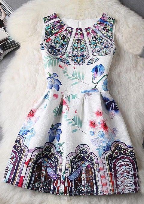 Slim Jacquard Printed Sleeveless Vest Dress