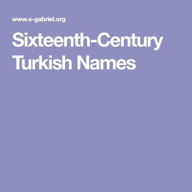 Sixteenth-Century Turkish Names