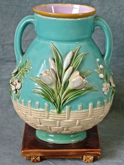 Majolica Vase, Two Handles, Floral, Minton | Majolica International Society