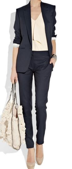 Corporate work attire. Navy suit with nude shirt and heels.  [The Edgy Times ] shoppromesse.com