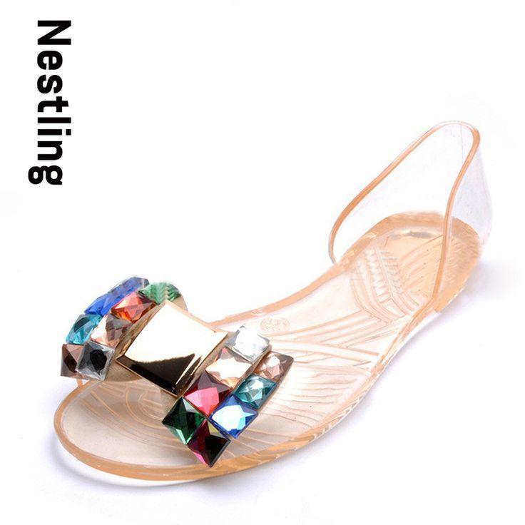 Doux bowknot Sandales d'été Chaussures Jelly Femme Cristal Appartements Transparent Casual plage dames Chaussures,violet,38